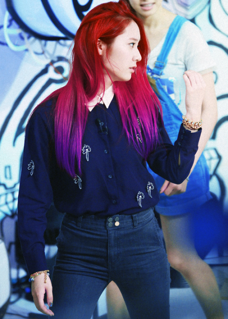 krystal red and purple hair